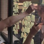 Post it notes on a window