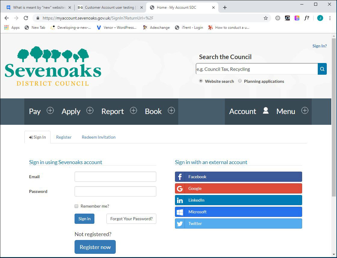 Screenshot of Sevenoaks My Account