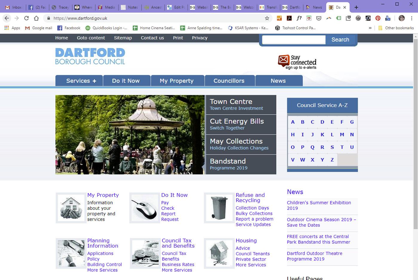 Dartford Borough Council website homepage