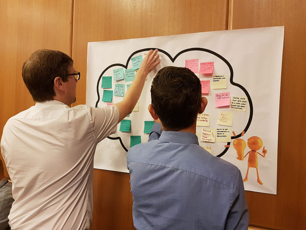 2 men sticking post its to a piece of paper on the wall with a cloud outline