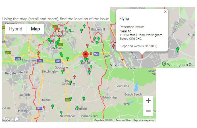 flytipping pin on a map