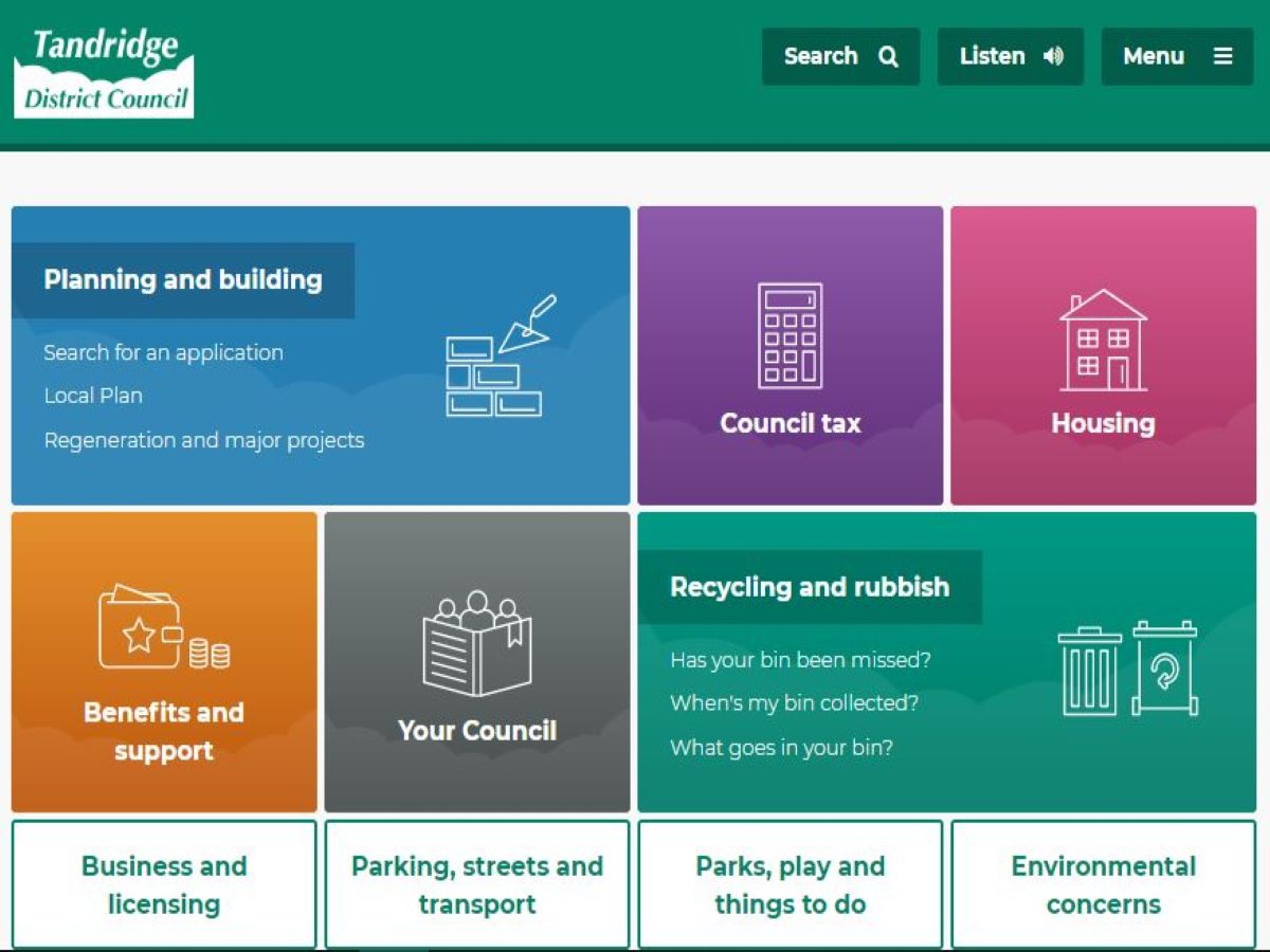 Tandridge District Council website homepage