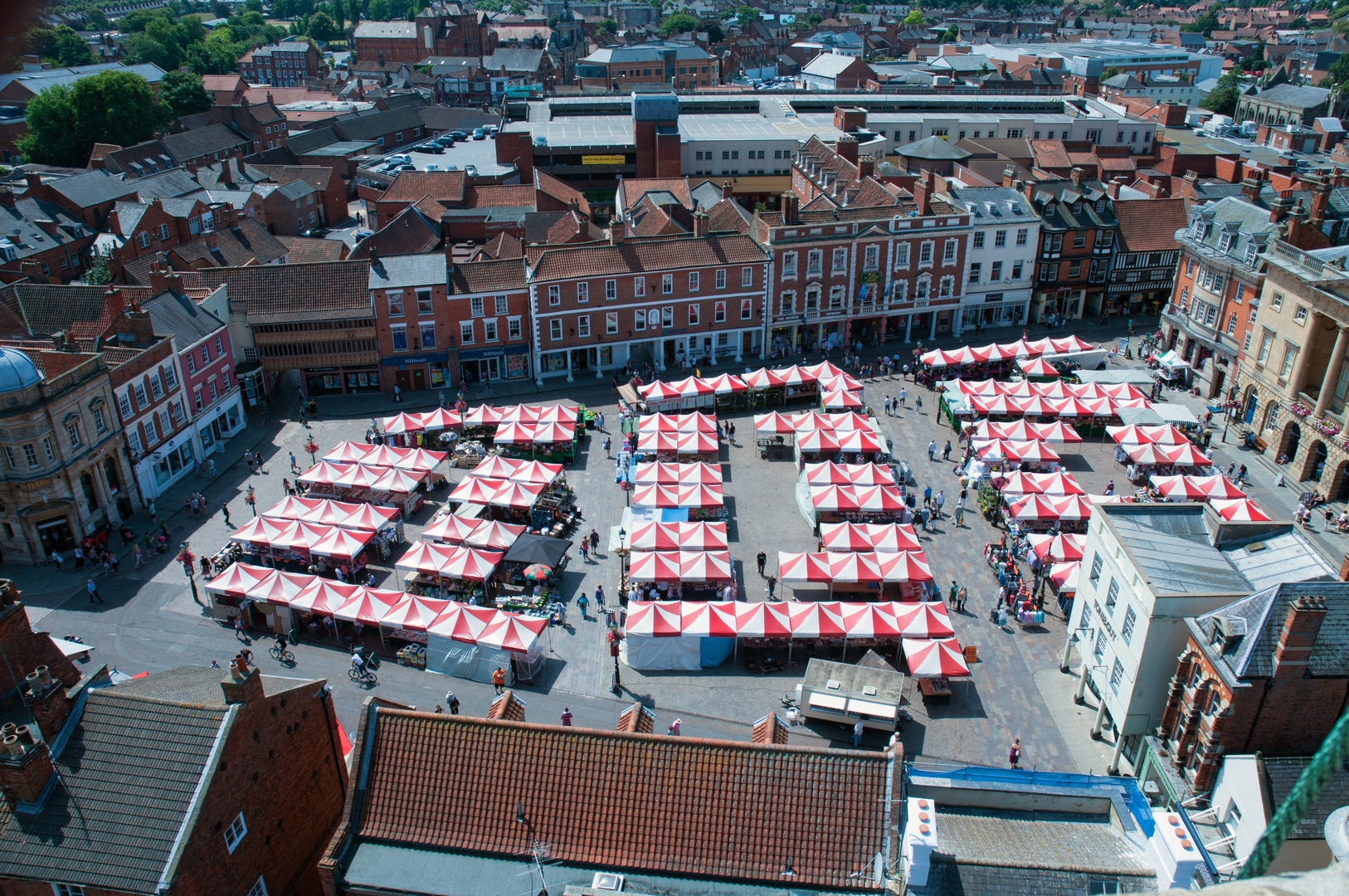 Birds eye view of market stall in town centre square