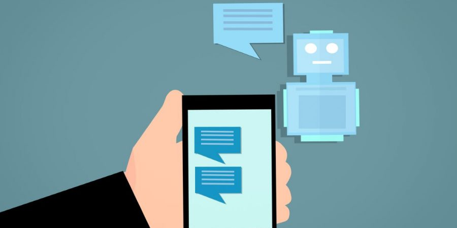 Stylized chatbot photo of mobile phone with robot reply