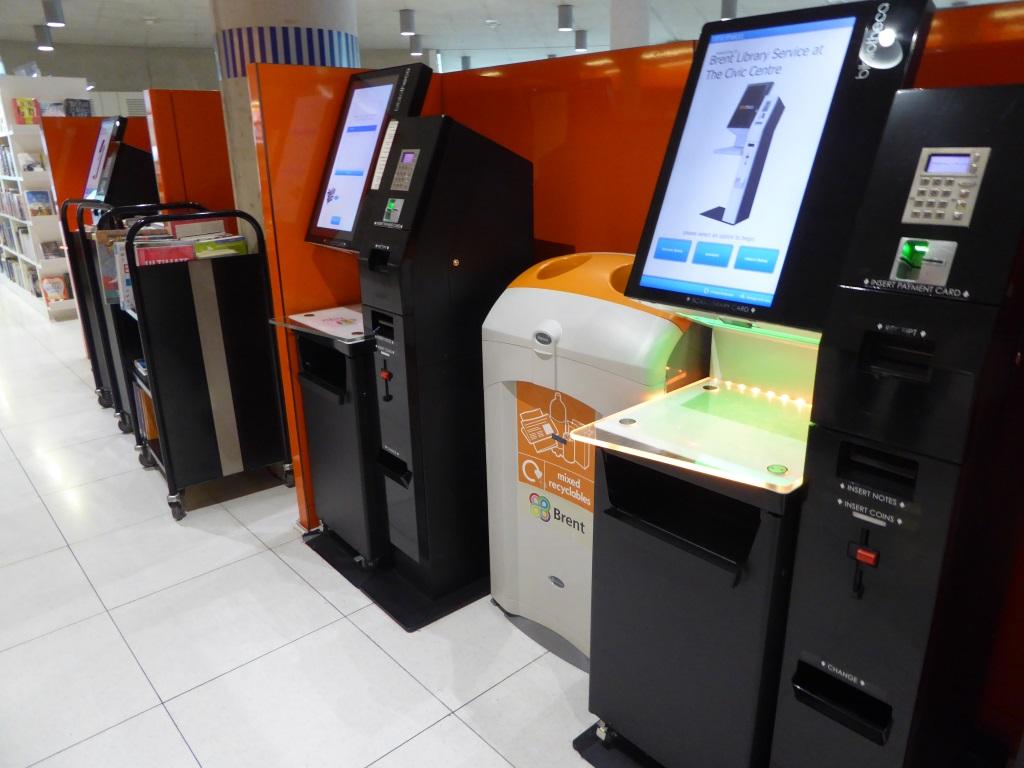 self-service kiosks in a council library