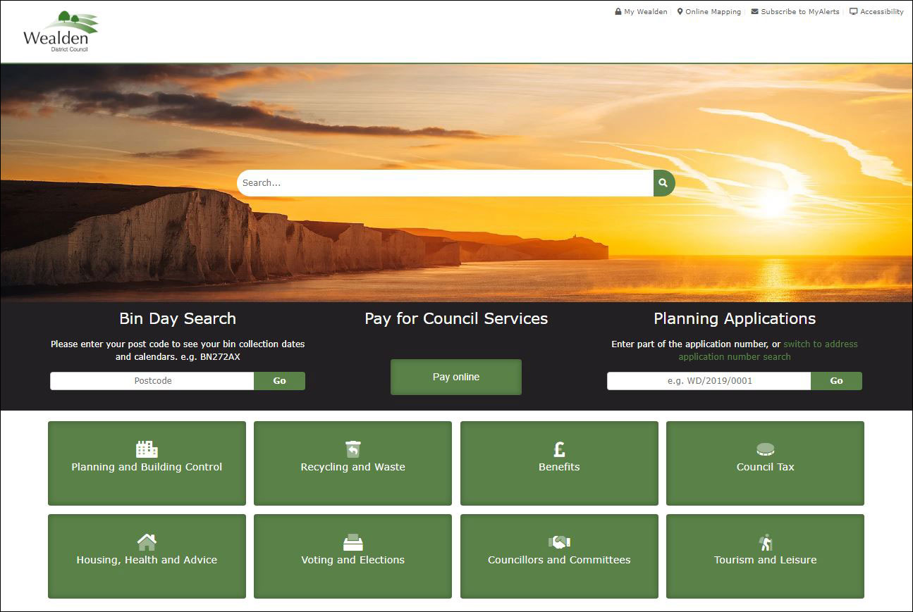 Wealden District Council homepage screengrab