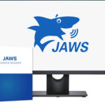 Jaws logo on a screen and a Jaws software box