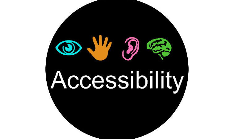 Accessibility icon showing eye, hand, ear and brain