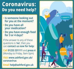Coronavirus support poster showing contact number 01233 331111 and website link to ashford.gov.uk/coronavirus page