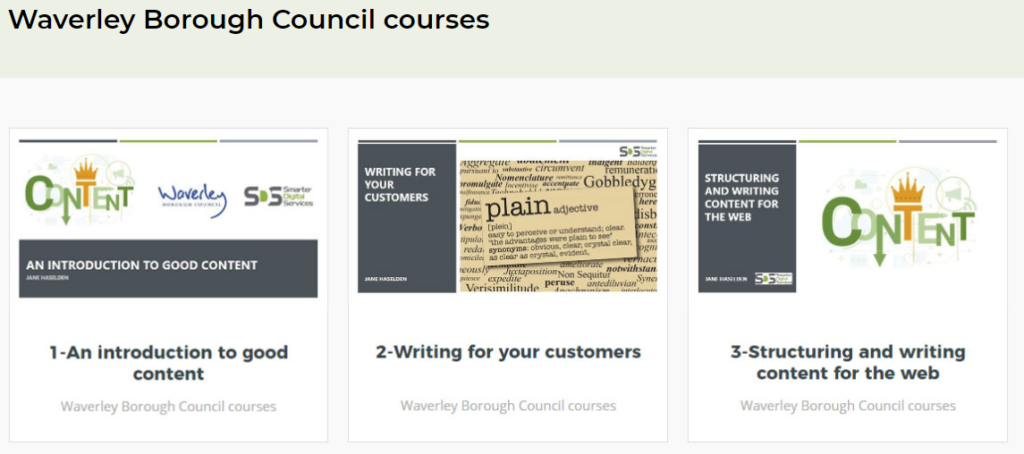 Waverley Borough Council Training Courses on the SDS e-learning Portal