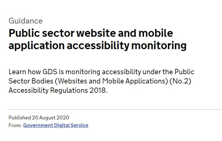 Public sector website and mobile application accessibility monitoring