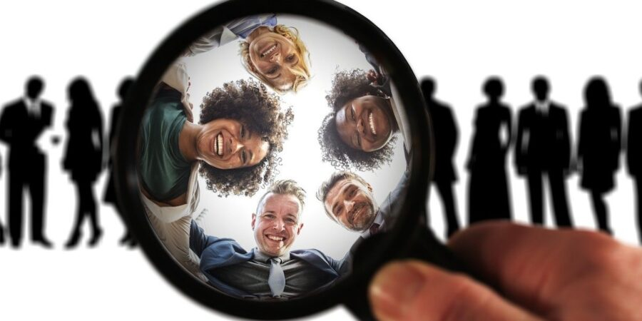 Customers and Magnify Glass